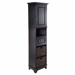Black Linen Tower Tall Bathroom Cabinet Storage Furniture