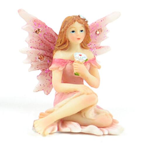 Miniature Dollhouse FAIRY GARDEN Pastel Pink Sitting Fairy Holding Flower