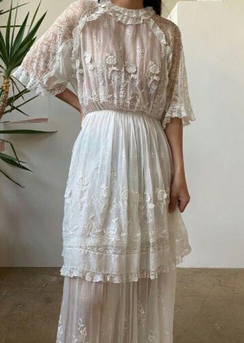 Antique cotton embroidered Edwardian dress - image 1