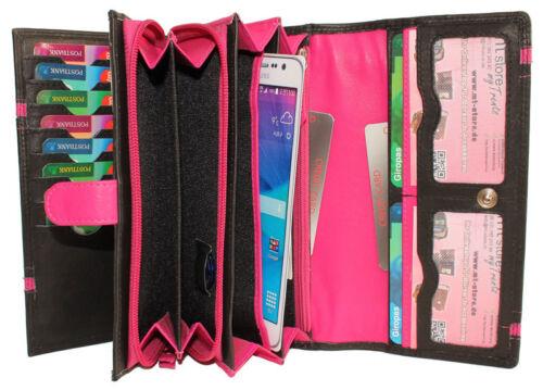 Donna Portafoglio in pelle Portafoglio Borsa linguetta Borsa valori 16 scomparti carte tasca per cellulare XL