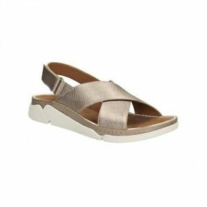 Details about LADIES WOMENS CLARKS TRI ALEXIA FLATS WORK CASUAL SLINGBACK SHOES GOLD SANDALS