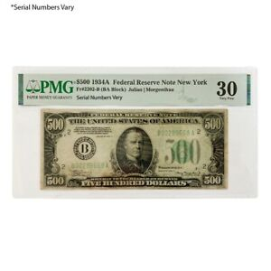 1934 A $500 Federal Reserve Currency Note New York PMG VF 30