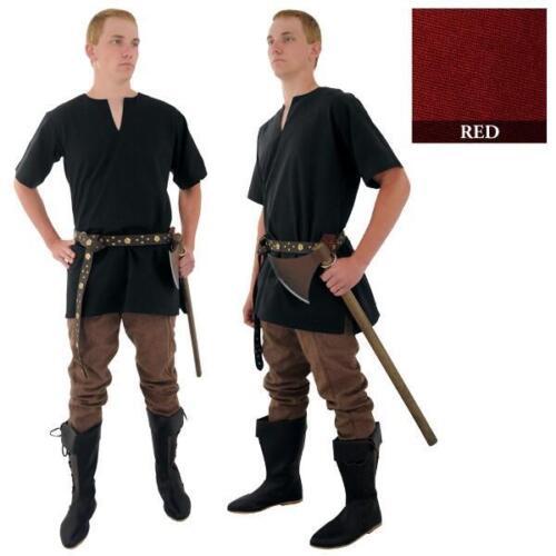 MEDIEVAL VIKING NORSEMAN SAXON Mens Short Sleeve Black Burgundy Red SHIRT TUNIC