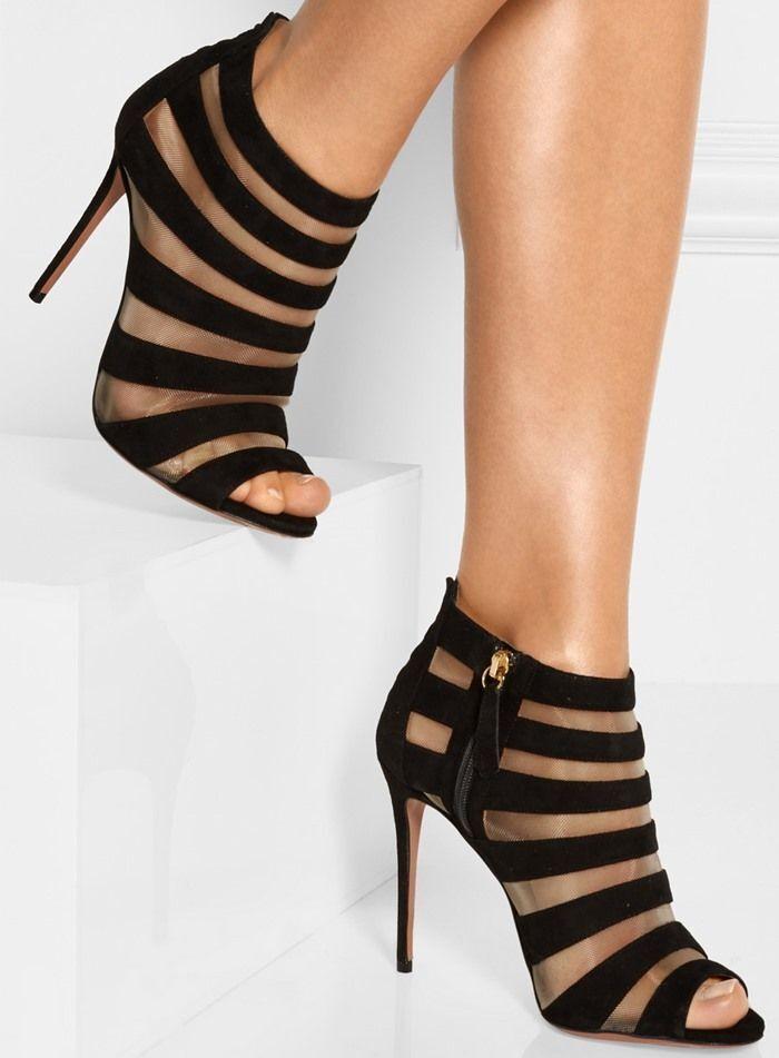 AQUAZZURA Wild Side Caged Ankle Ankle Ankle Bootie Stiletto Black Suede Beige Mesh 40.5 10.5 7acc69