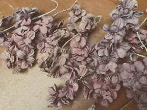 Vintage Mini Lilacs Cotton Flowers Stems Dusty Rose 1pc Made in Japan