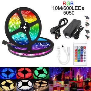 5M-10M-5050-60LED-M-LED-Strip-Light-Kits-24-KEY-IR-Controller-2A-5A-Power-Supply