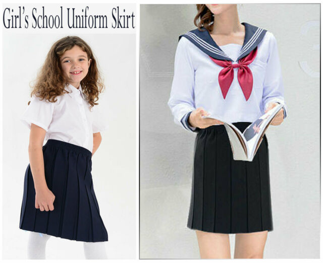 Hiffy Girls Kids School Uniform Box Pleated Elasticated Waist Skirt Age 2-13 Years