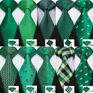 Classic-Mens-Green-Silk-Tie-Set-Checks-Solid-Necktie-Lot-Green-St-Patrick-039-s-Day