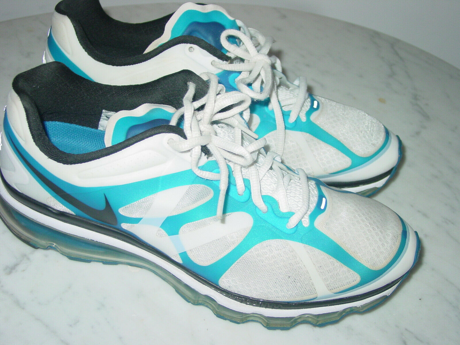 2011 Nike Air Max+ 2012 White Black bluee Spark Running shoes  Size 11
