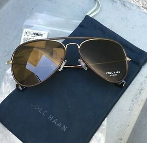 11b96806534f Brand New NWT COLE HAAN Brown Polarized Metal Aviator Sunglasses ...