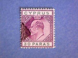 Cyprus-1904-KEVII-30pa-Purple-amp-Green-SG63-Wmk-Mult-Crown-CA-P14-Used