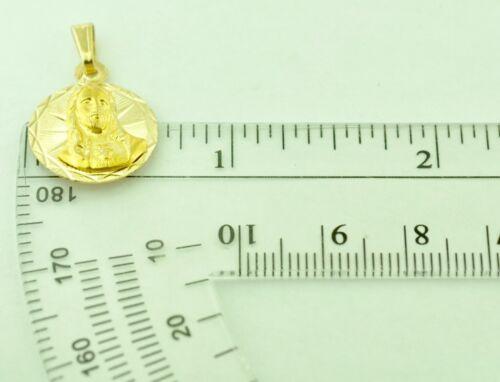 14k solide or Jaune Jesus Round Pendentif #9559 1.60 G H 3 Jewels 16 mm