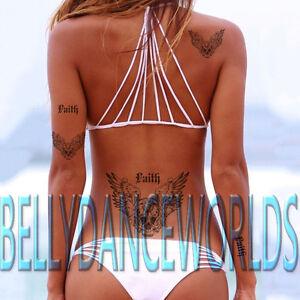 Skull Angel Wings Faith Temporary Tattoo Lower Back Hip Neck Tramp