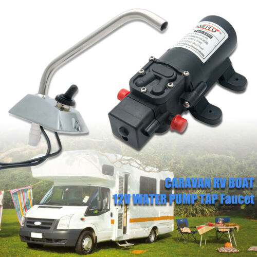 Bomba de agua eléctrico de galera 12V Kit De Grifo Grifo Jardín Caravana Barco Auto cebado