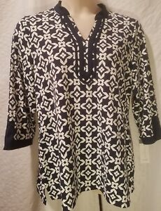 CHARTER-CLUB-Women-Plus-1X-White-amp-Navy-Blue-V-Neck-Print-3-4-Sleeve-Top-Blouse