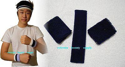 navy blue basketball tennis exercise Sports  HeadBand WristBand Sweatband set