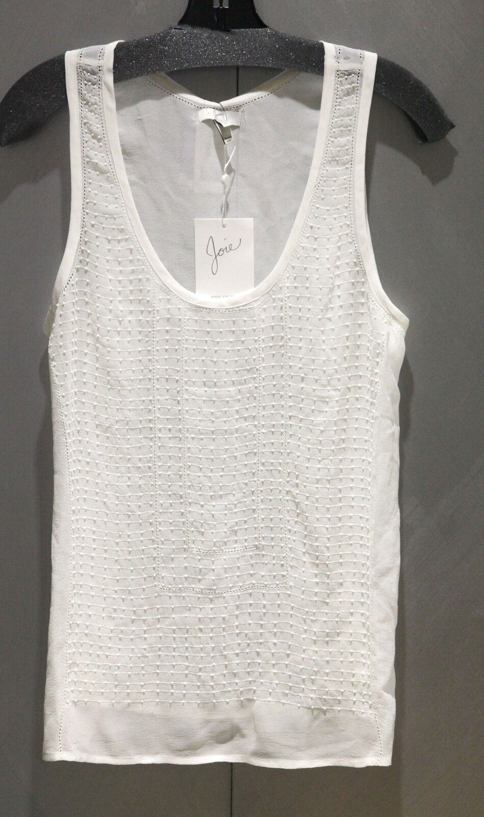 NWT Joie Denbra Ivory Beaded Sleeveless Blouse Top Sz L  Free Shipping
