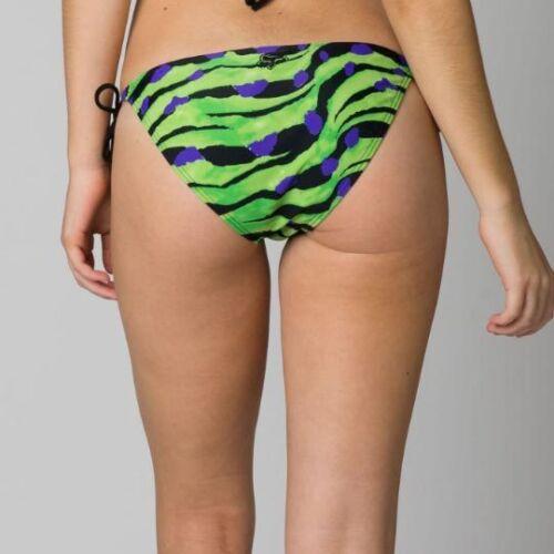 FOX RACING WOMENS SWIMWEAR CRAWL SIDE TIE BOTTOM BLACK GREEN swimsuit bikini