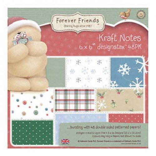 FOREVER FRIENDS KRAFT CHRISTMAS NOTES SAMPLE PACKS 16 X  6 x 6 PAPERS