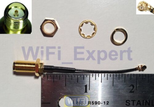"1 x Mini 2/"" PCI IPX U.FL to RP-SMA Antenna WiFi Pigtail RF Cable USA"