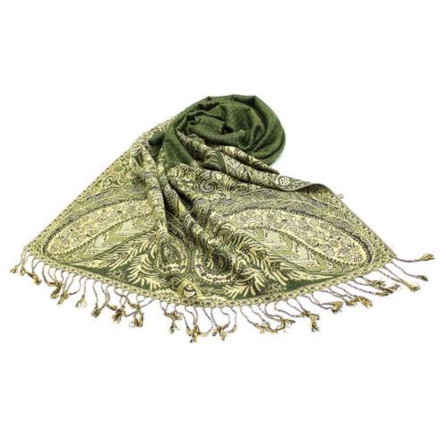 Foulard Pashmina Echarpe Etole Châle Réversible Vert Kaki Avec Franges/_MBBF749A