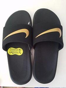 476455038 NWT Nike Youth Kid Kawa Slide Sandals Sz 11 Black 885177387570