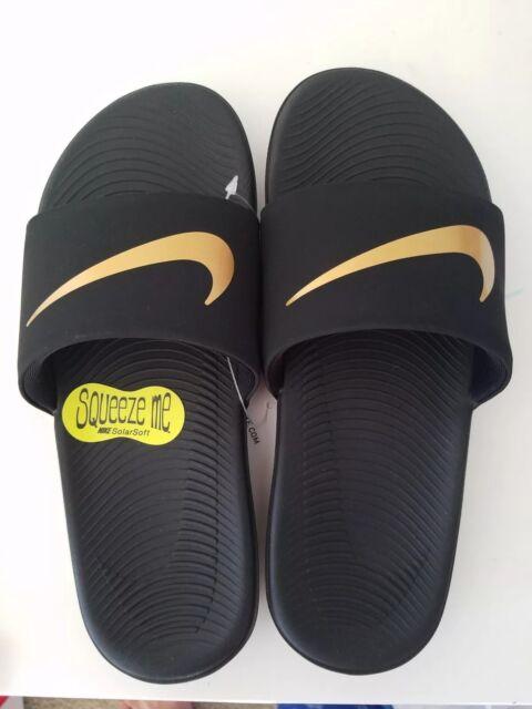 47c21a9250c3 Nike Kawa Slide Sandals Boy s Size 1 Black metallic Gold for sale ...