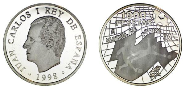 1.000 Silver Pesetas/argent EspaÑa.1998. Du Monde Fútbol-fifa Wolrd Cup. Proof