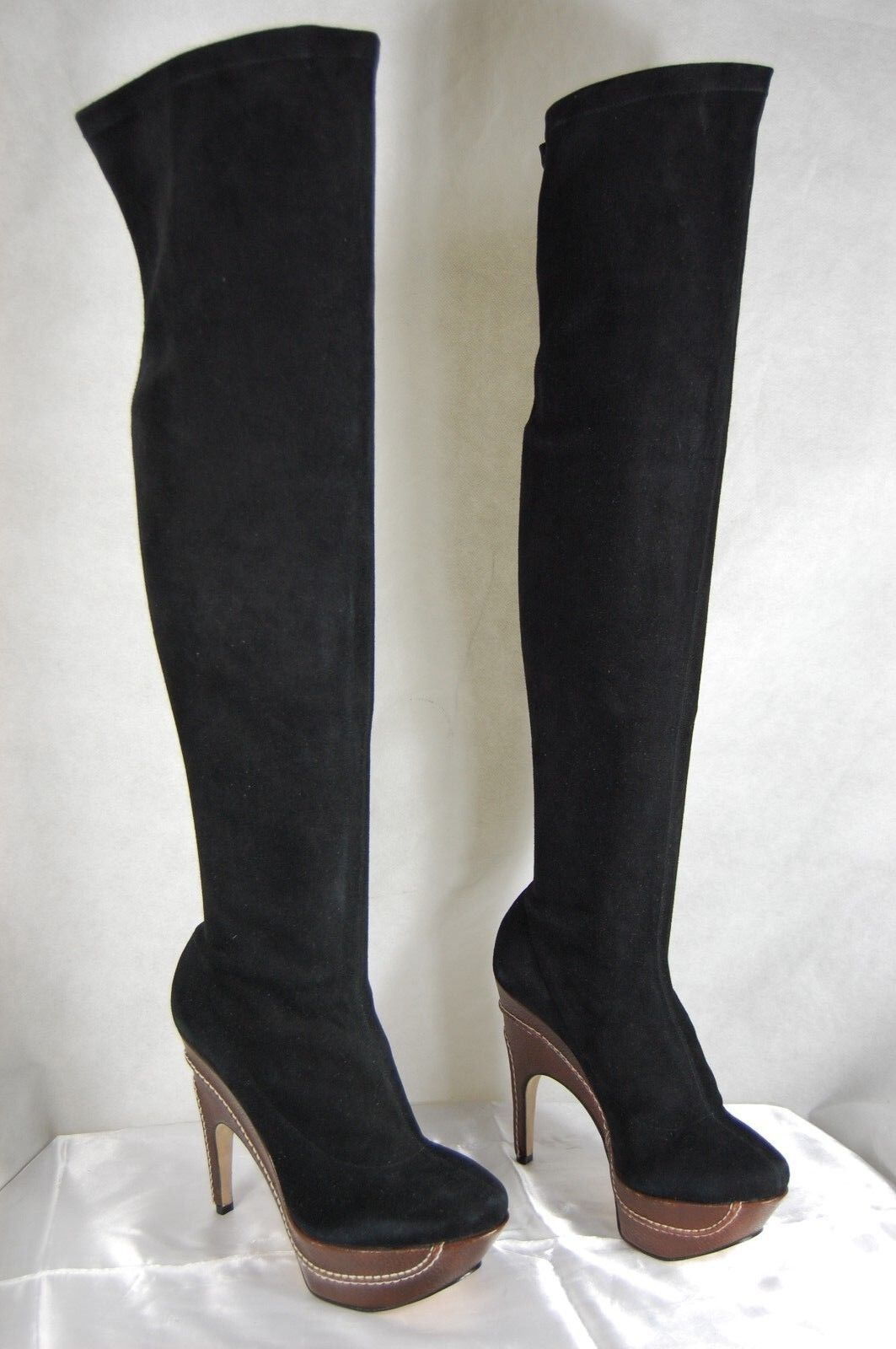 RODO  MADE IN  ITALY  SUEDE STRETCH  IN BLACK OVER THE KNEE Stiefel EU 39 US 38.5 bae2c1
