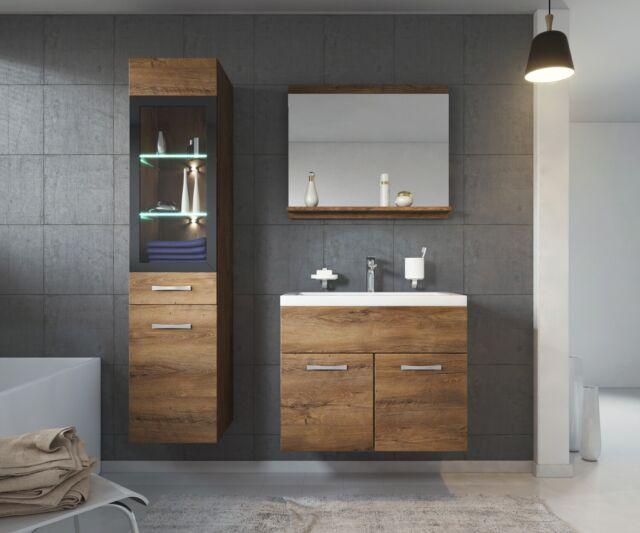 Meuble de salle de bain Rio LED 60 cm lavabo Lefkas (marron) - Armoire de  rangem