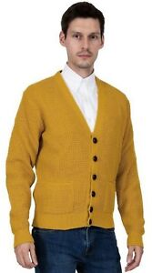 Men-039-s-Yellow-Waffle-Knit-Football-Button-Front-Mod-Retro-Relco-Mustard-Cardigan