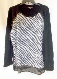 Co Sweater Wimper Xl Chiffon Nr Dames Zebraprint Knit Style Trim T6ndW0TA