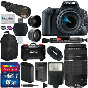 Canon EOS Rebel SL2 DSLR Camera +5 Lens: 18-55mm 75-300mm 500mm Top Value Bundle 793611703957