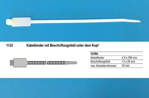 Spezialstift Kabelbinder 4,8x194mm mit Beschr.feld natur 100 x Kabelmarkierer