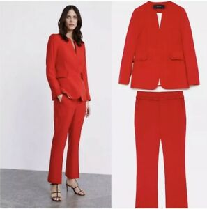 5aae23fc Details about Zara Red Trousers And Blazer With Frill Detail Matching Co  Ord Set Size XS 4 6