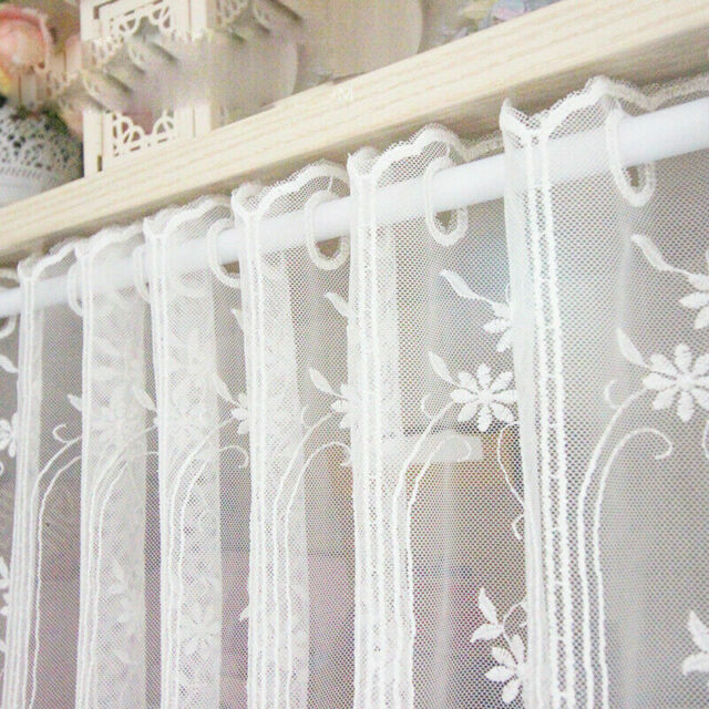 1X Mech Floral Curtain Panel Home Cafe Cabinet Decor Lace Trim Semi-sheer