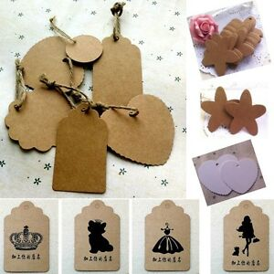 Hanging Wedding Gift Tags : ... Brown-Kraft-Paper-Hang-Tags-Wedding-Party-Favor-Label-Price-Gift-Cards