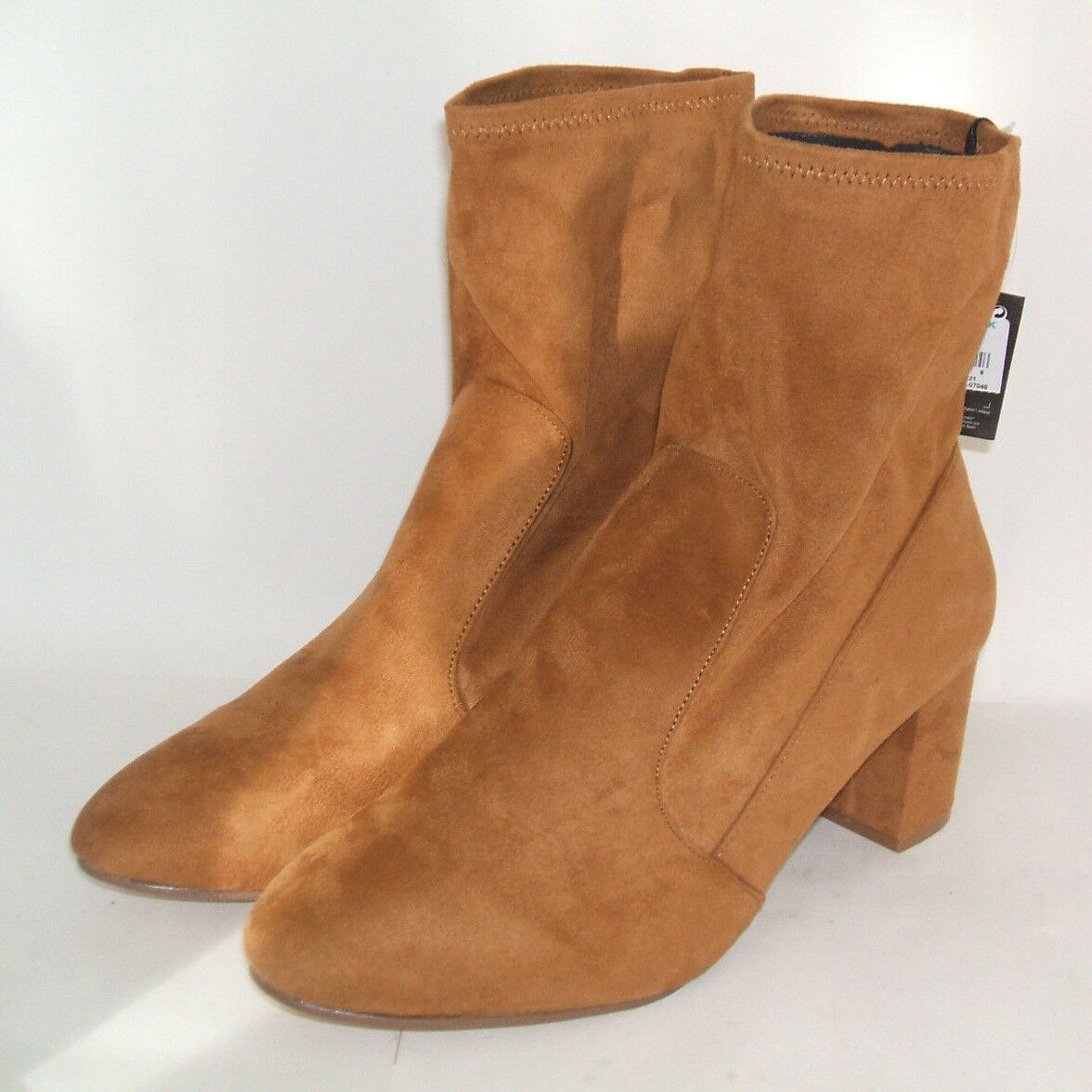 WOMENS SIZE 8 42 TAN FAUX SUEDE MID HIGH HEEL ANKLE BOOTS BNWOB