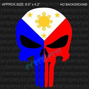 Philippine Flag Punisher Style Design Drift Racing Stickers Car - Custom vinyl decals for t shirt philippines