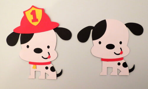 Cute Dog Dalmatian Firefighter ONE Die Cut Paper Piecing Scrapbook Embellishment