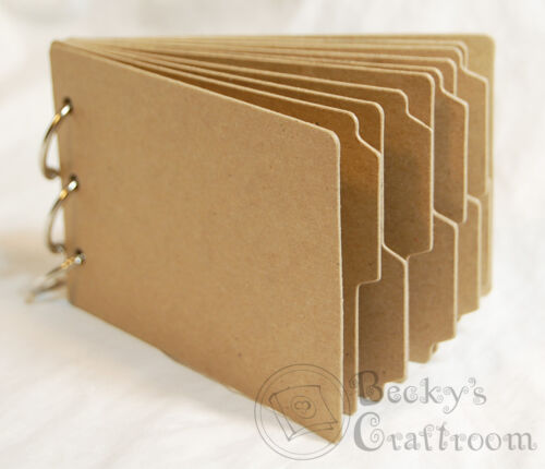 """3 rings 3.25/"""" x 5/"""" Mini Chipboard Album #5 10 Tabbed pages 2 cover + 8 tabbed"""