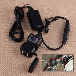 Mobile Phone Dual USB Port Motorbike Handlebar Mount Charger Adapter Waterproof