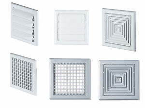 White ventilation cover air vent grille outside gravity - Exterior bathroom exhaust vent covers ...