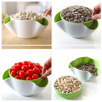 2 In 1 Fruit Candy Snack Nut Compote Holder Dish Tray Decoration Plate New