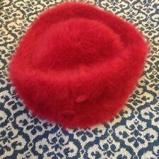Kangol deep wine furgora hat with button detail - vintage - angora