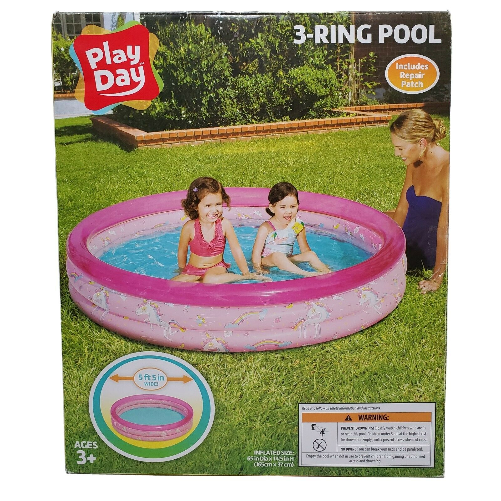 Kids Inflatable Swimming Pool Pink With Unicorns 3 Ring 65