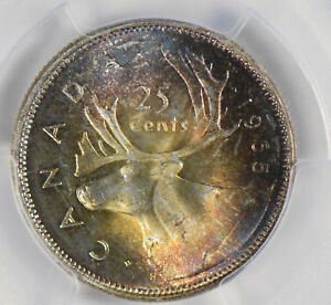 Canada-1965-25-Cents-silver-PCGS-MS63-stunning-blue-golden-toning-PC0304-combine