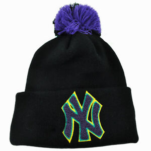 e47119be2f2 MLB New Era New York Yankees Aqua Hook Knit Beanie Pom Pom Cuffed ...