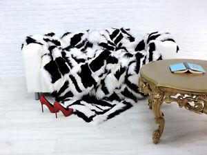 Veritable-Luxe-Fox-Couverture-Noir-et-Blanc-Couleur-063