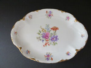 """Warwick China 13"""" Oval Platter ~ Floral Gold Scallop Edging ~ Made in USA"""